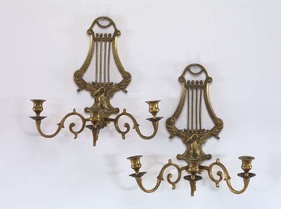 4: French Brass Three-Light Lyriform Appliques