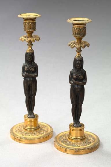 6: Restauration Parcel-Gilt Bronze Candlesticks