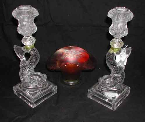 20: Candlesticks and a Carnival Glass Bowl