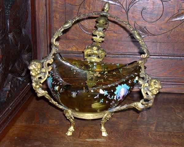 21: Karlsbad  Amber Glass Tricorne Bowl