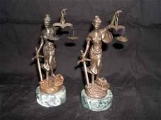 "320: Brass Italian Figures of ""Blind Justice"