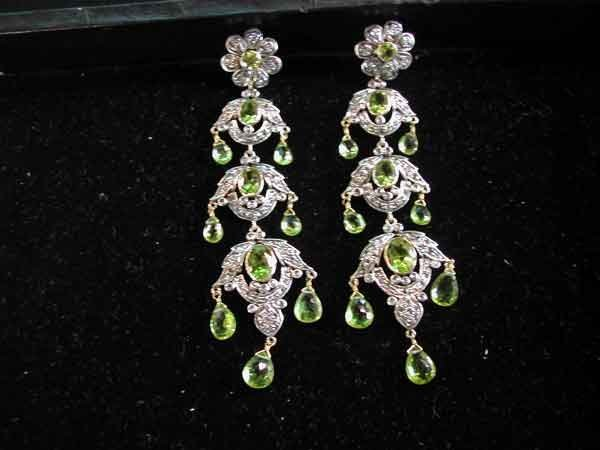 674: Silver and Gold, Peridot and Diamond Earrings