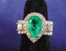 679 Gold Emerald and Diamond Dinner Ring