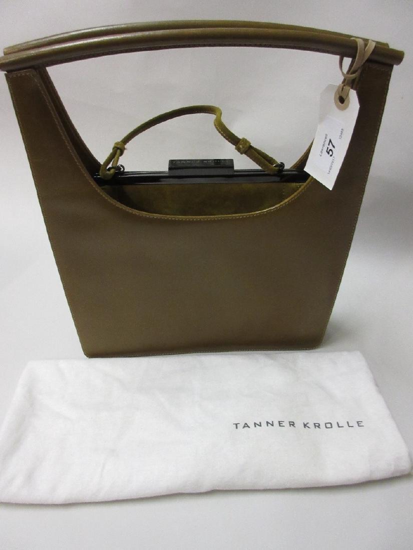 Tanner Krolle leather handbag enclosing a smaller suede