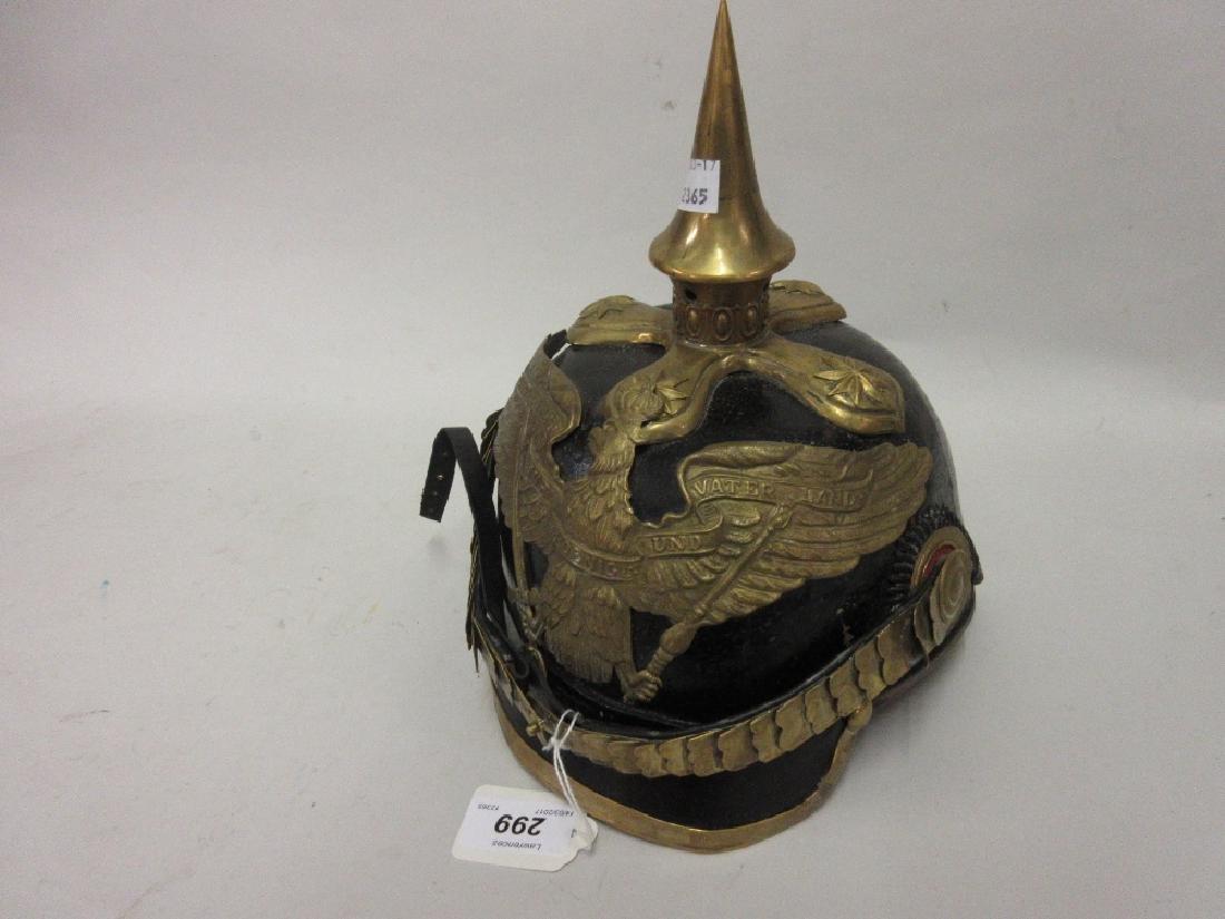 German brass mounted leather pickelhaub helmet