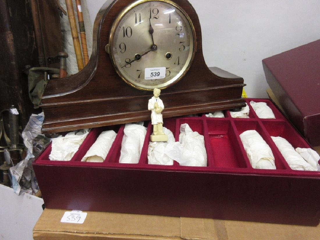 Early 20th Century mahogany two train mantel clock and