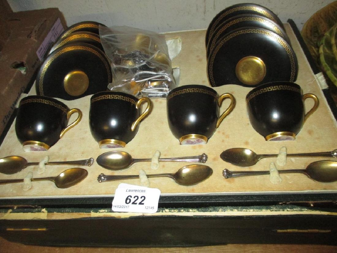 Cased part set of Royal Worcester black and gilt coffee