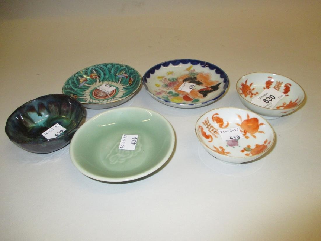 Small modern Chinese Celadon dish and five various
