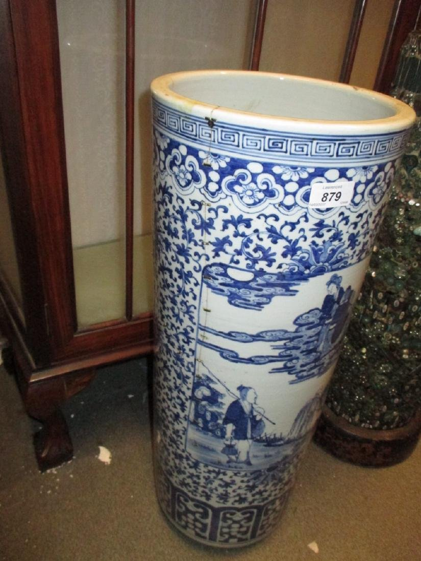 19th Century Chinese blue and white cylindrical stick