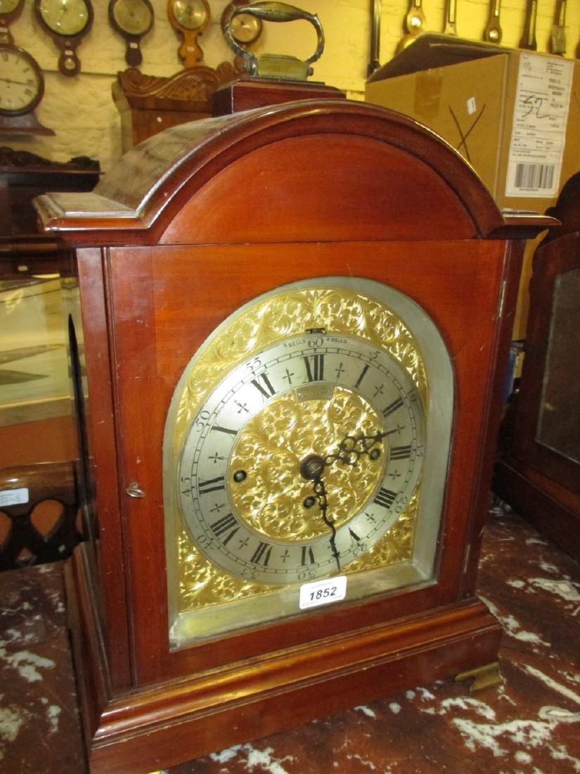 Edwardian mahogany musical bracket clock, the broken