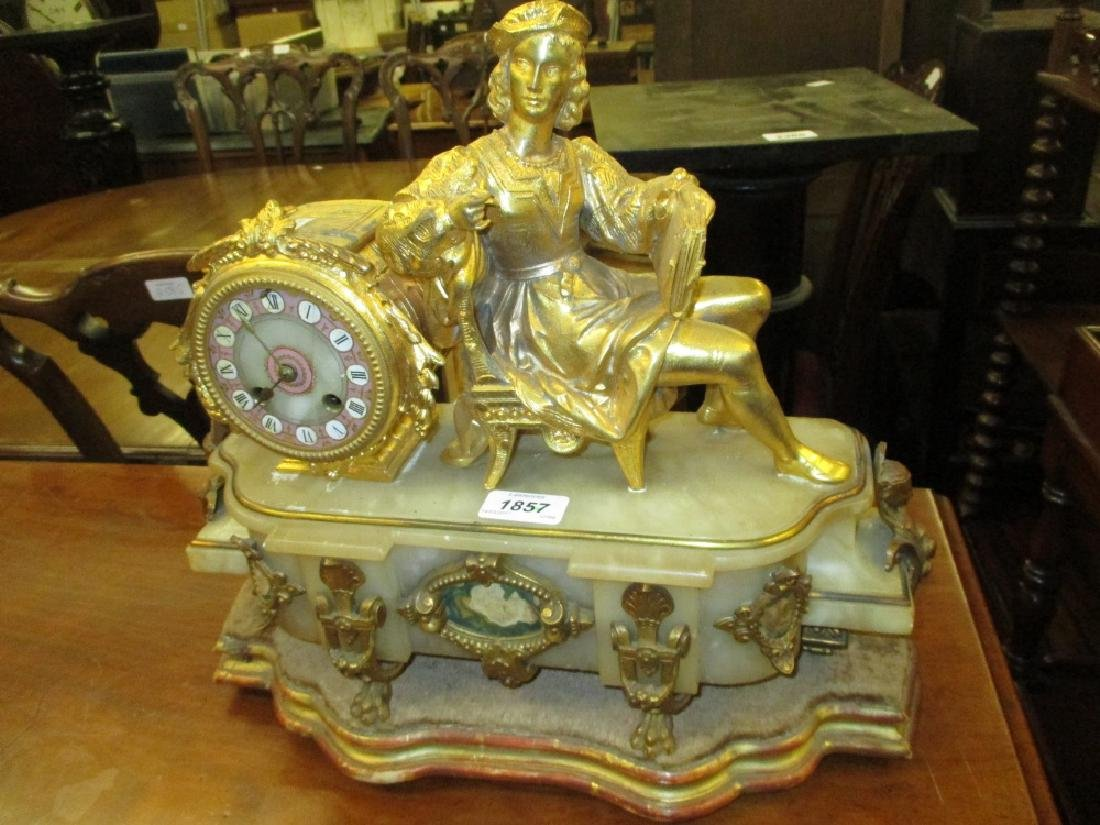 19th Century French gilded spelter and alabaster mantel