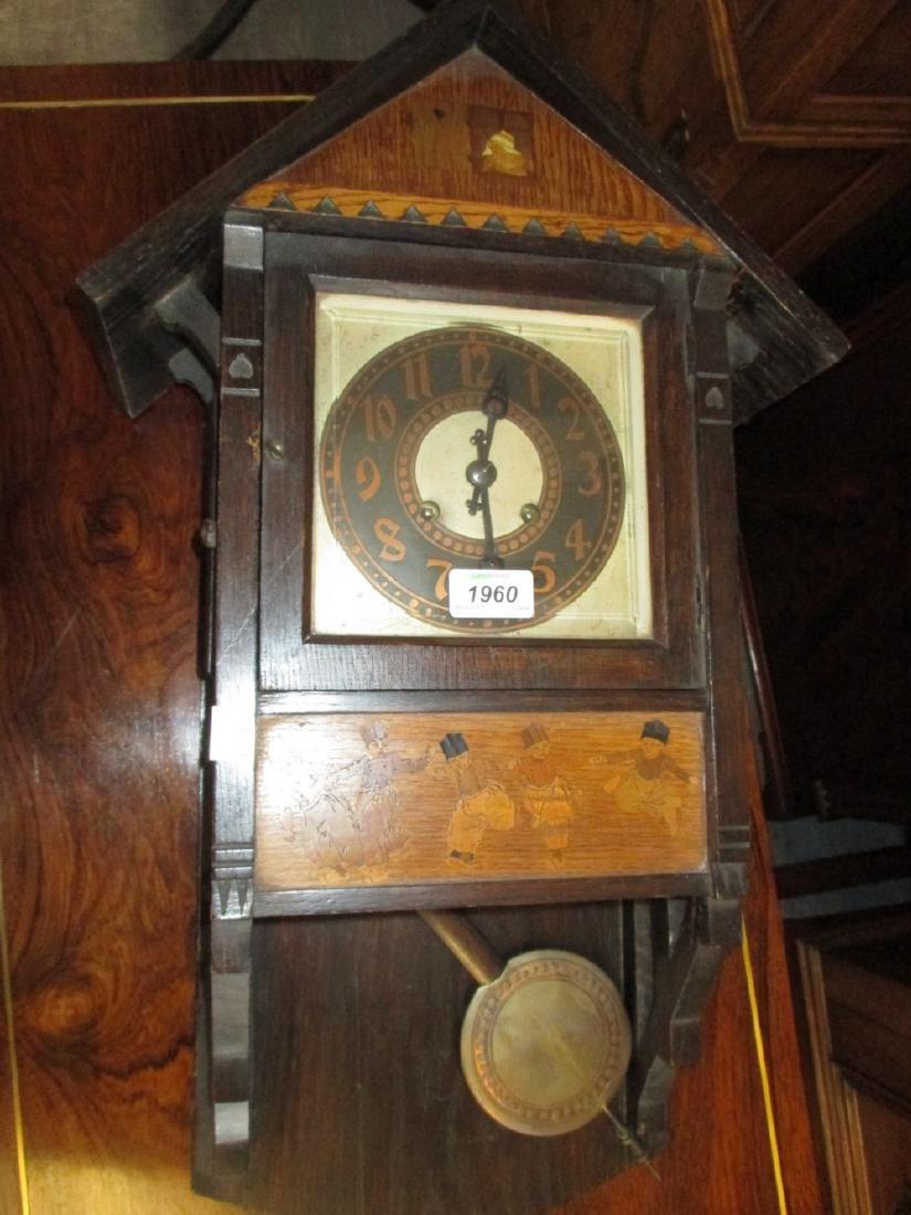 Dutch oak wall clock with a painted dial, Arabic