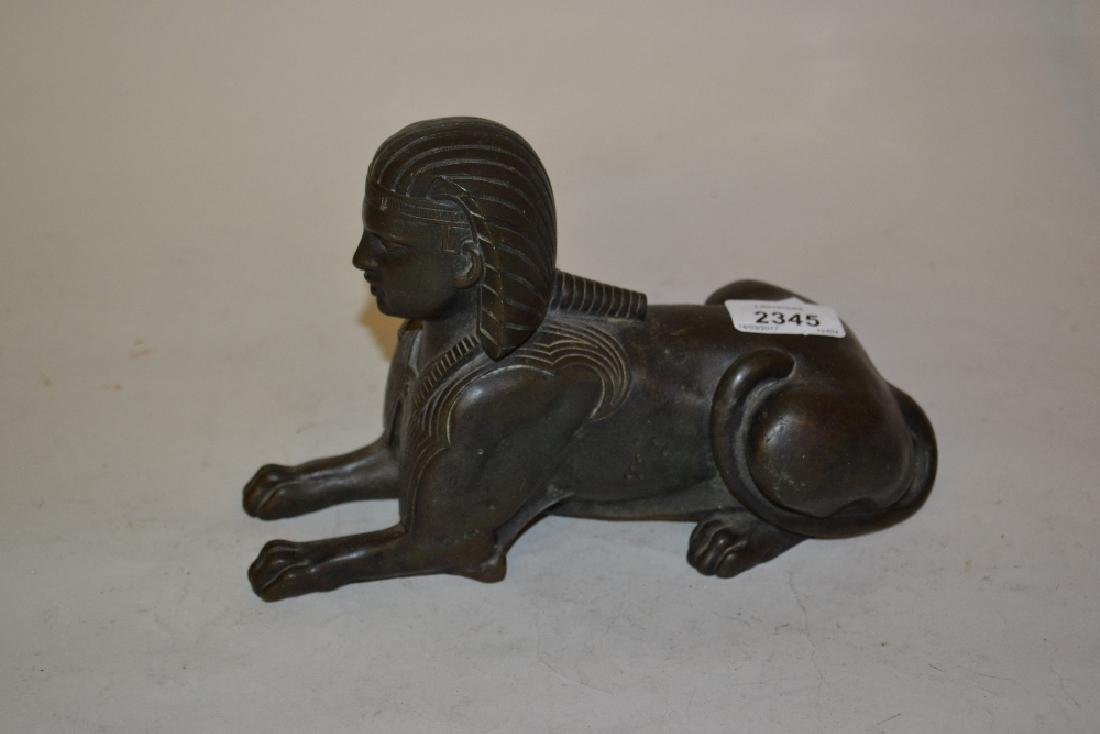 19th Century bronze figure of a sphinx (lacking base)