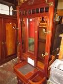 Late Victorian walnut mirror inset hallstand