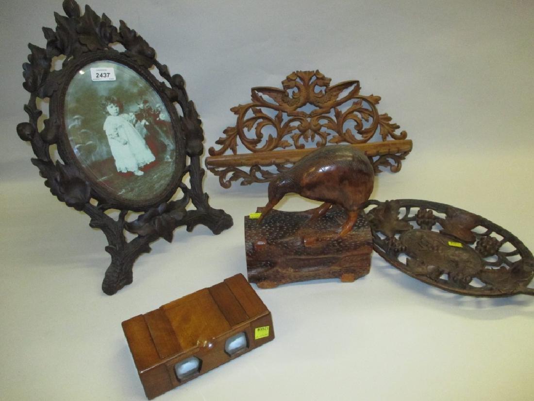 Black Forest carved oval easel mirror, similar folding
