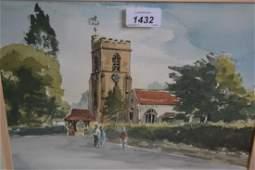 Brian Wilson watercolour St Marys Church Reigate