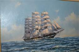 Anthony Hedges, large oil on canvas, view of a triple