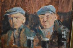 Irish school oil on canvas study of two gentlemen