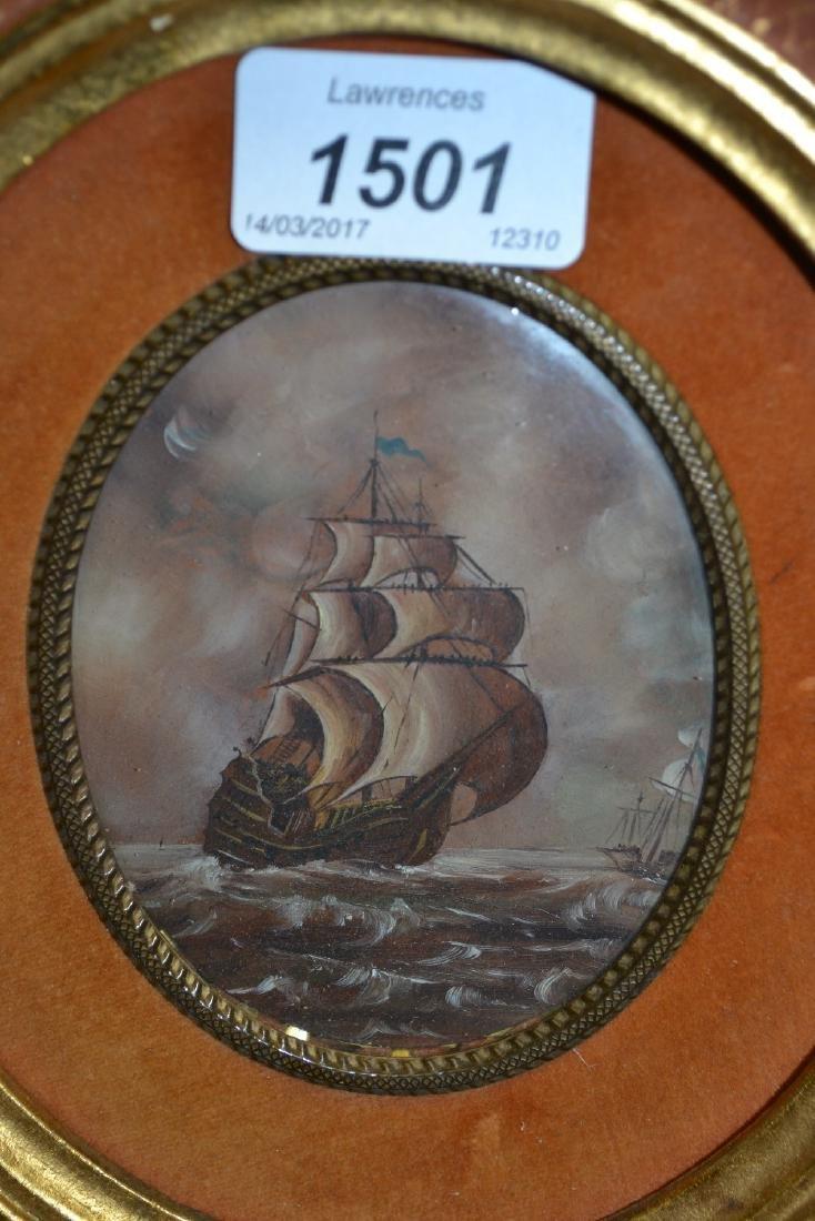 An ornate oval gilt framed miniature painting, maritime