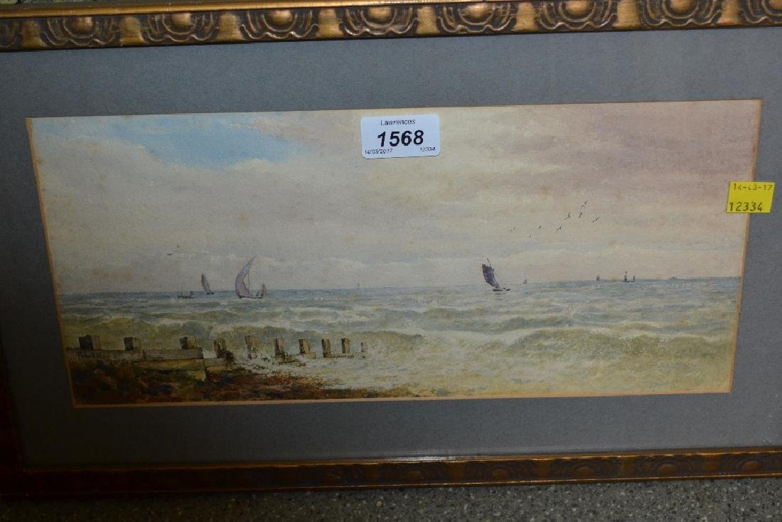 Powell May, watercolour, shipping off the coast,