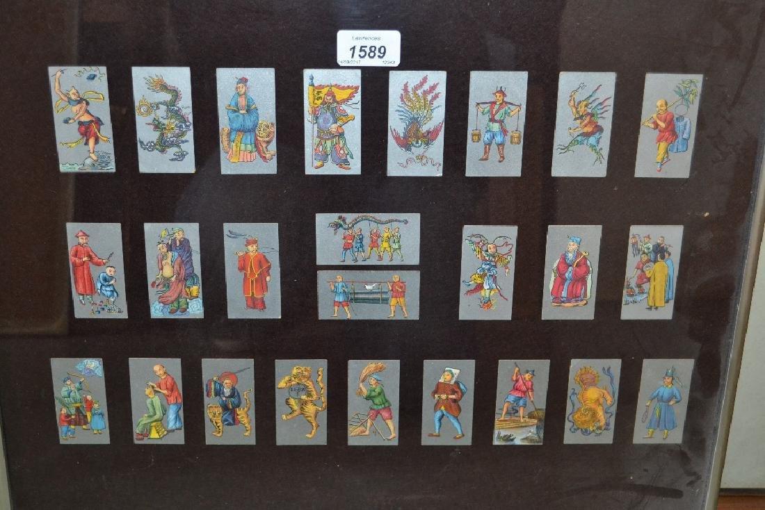 Framed set of twenty four cards (cigarette ?) depicting