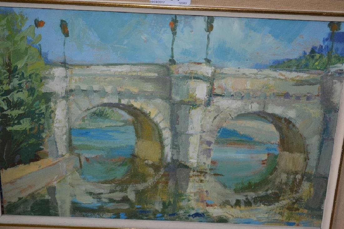 Mid 20th Century oil on board, river scene with a stone