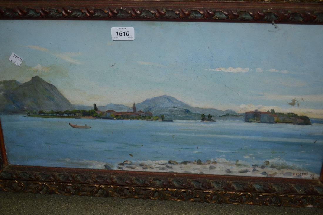 E. Poletti, oil on board, Mediterranean coastal scene,