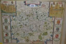 John Speede, antique hand coloured map, Surrey,