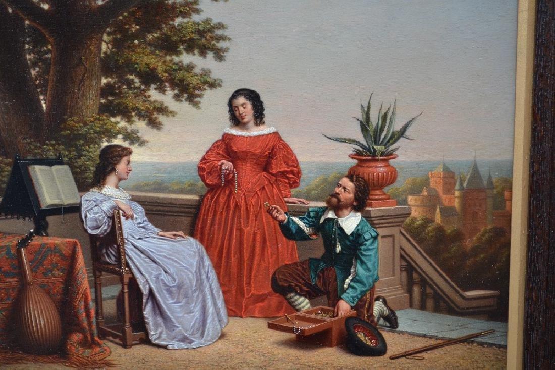 A.F. Heijligers, (Dutch) oil on panel, figures on a