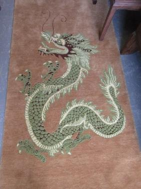 Modern Nepalese rug with dragon design on a beige
