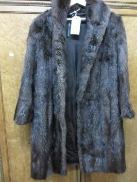 Ladies three quarter length dark brown fur coat
