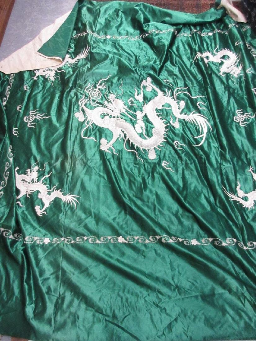 Large Chinese green silk panel with detailed embroidery