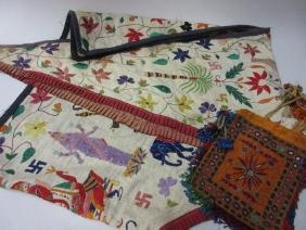 Indian embroidered door hanging, together with a