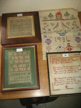Two small 19th Century alphabet samplers, a 19th