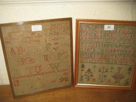 19th Century alphabet and pictorial sampler by Mary