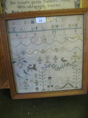 20th Century alphabet and pictorial sampler with