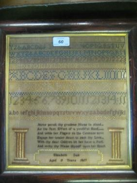 19th Century alphabet sampler with verse by Elizabeth