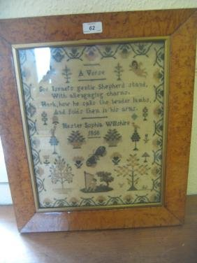19th Century sampler with verse and figure playing a