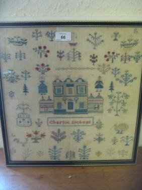 Early 19th Century pictorial needlework sampler of a