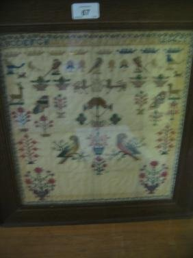 Early 19th Century pictorial needlework sampler with