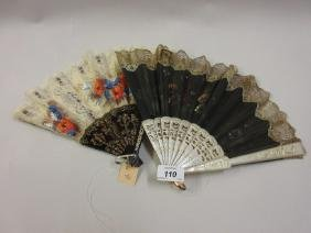 19th Century fan hand painted with flowers together