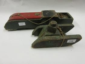 Two early 20th Century painted wooden models of a tank