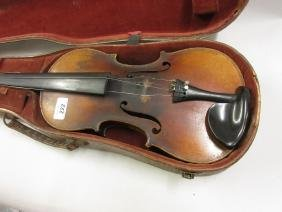 19th Century violin with label in original wooden case,