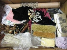 Quantity of various ladies handbags, lace, hairbrushes