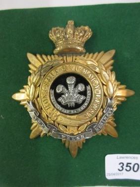Victorian Welsh regiment Officer's helmet plate