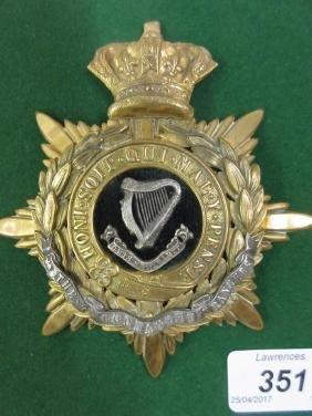 Victorian Connaught Rangers Officer's helmet plate