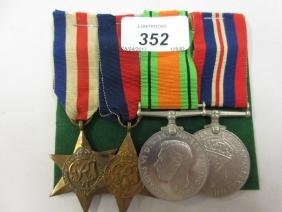 Group of four World War II service medals including