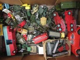 Box containing a collection of various Dinky die-cast