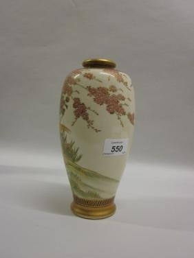 Satsuma pottery vase decorated with exotic bird in