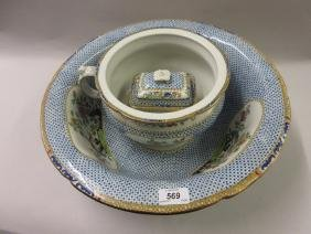 Copeland Spode pottery wash basin, chamber pot and soap